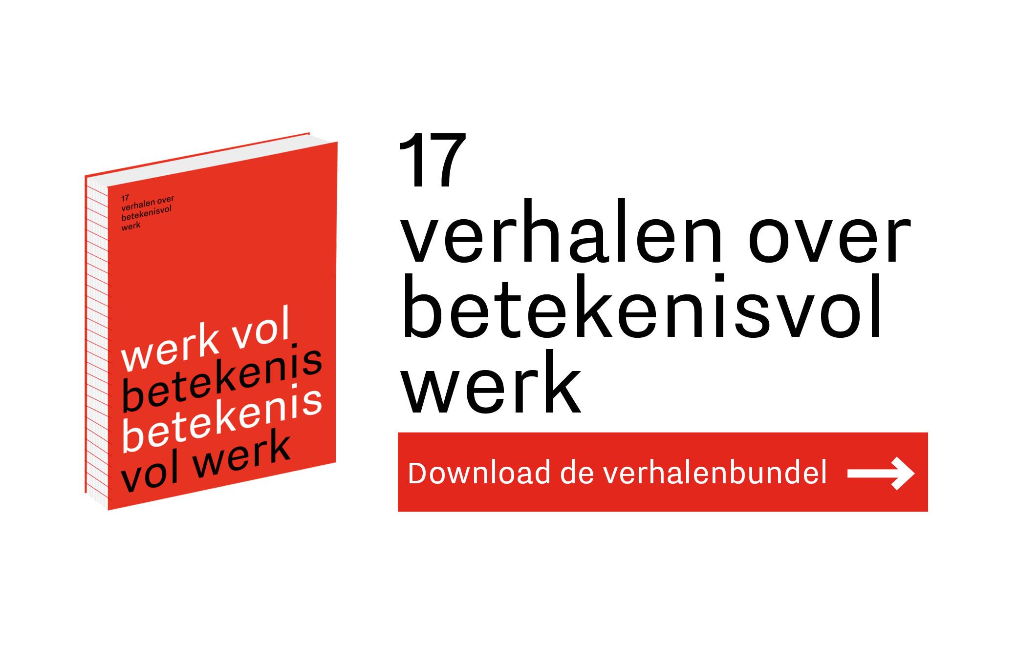 Banner van de verhalenbundel 17 verhalen over betekenisvol werk