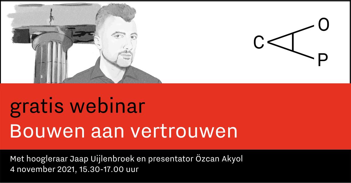 Banner met aankondiging van de webinar 4 op 4 november 2021, met hoogleraar Jaap Uijlenbroek en presentator Özcan Akyol